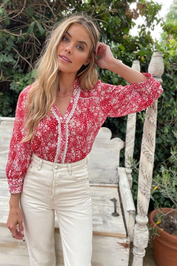 Love & Roses Red & White Regular Frill Neck Lace Trim Blouse
