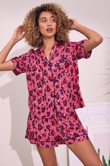 Love & Roses Pink Animal Pyjama Shirt And Short Set