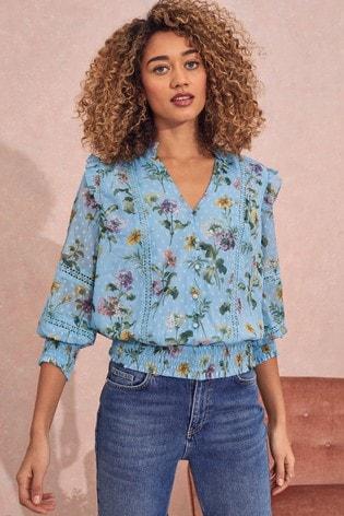 Love & Roses Blue Floral Regular Shirred Hem Lace Trim Blouse