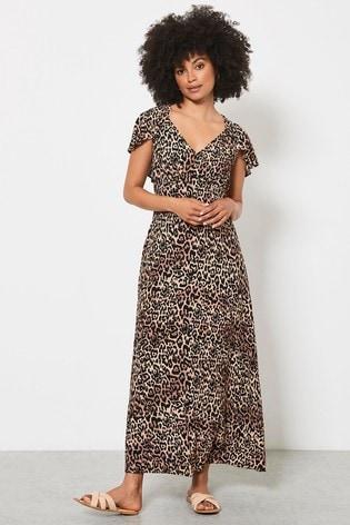 Mint Velvet Cream Isabel V-Neck Midi Dress
