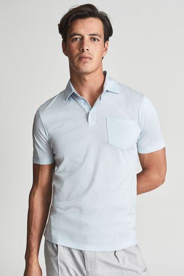 REISS Blue Blue Elliot Mercerised Egyptian Cotton Polo Shirt