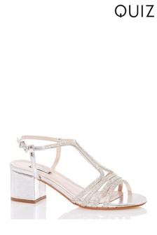 Quiz Silver Strappy T Bar Block Heel Sandals | Debenhams
