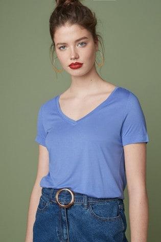 Pale Blue Womens Slouch V-Neck T-Shirt