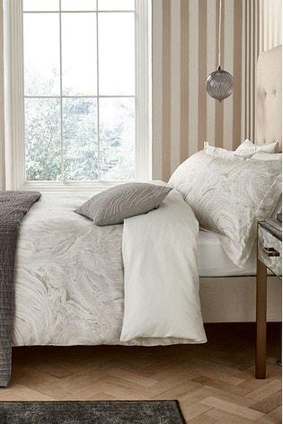 Harlequin Ivory Makrana Marble Print Cotton Duvet Cover