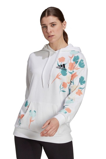 adidas White Floral Oversized Hoodie