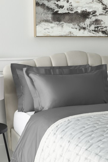Set of 2 Charcoal Grey 300 Thread Count Collection Luxe 100% Cotton Pillowcases