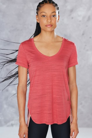 Red Short Sleeve V-Neck Sports Top