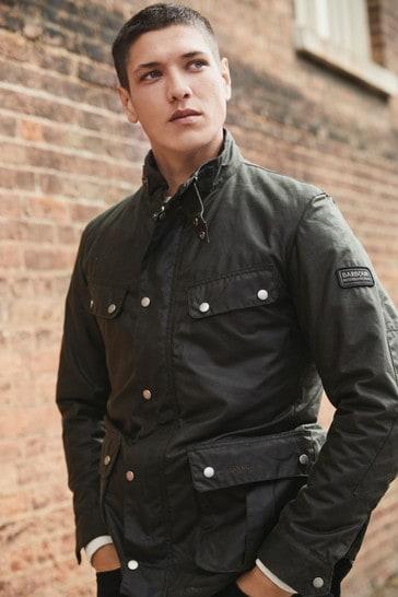 Barbour® International Black & Olive Green Duke Slim Fit Wax Jacket