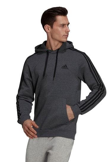 adidas Essential Fleece 3 Stripe Zip Through Hoodie