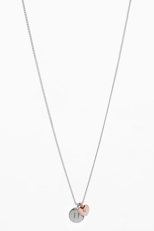 Silver Tone/Rose Gold Tone Heart Initial Necklace