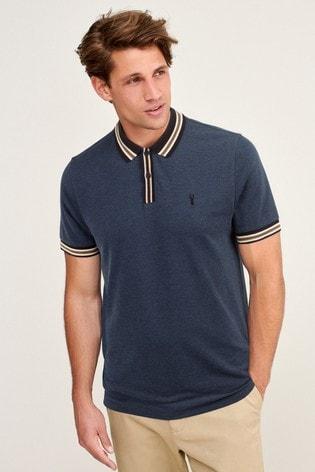 Navy Blue Marl Tipped Regular Fit Polo Shirt