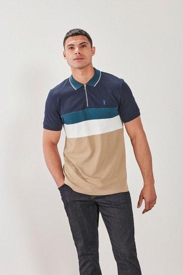 Navy/Stone Blocked Polo Shirt