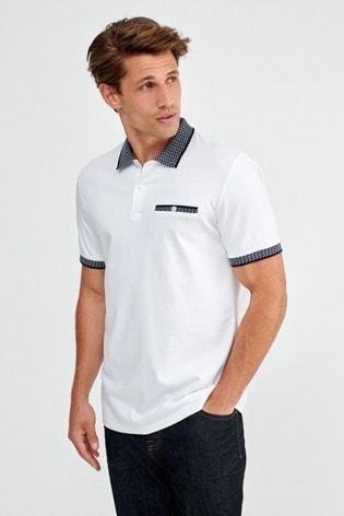 White/Navy Smart Collar Polo Shirt
