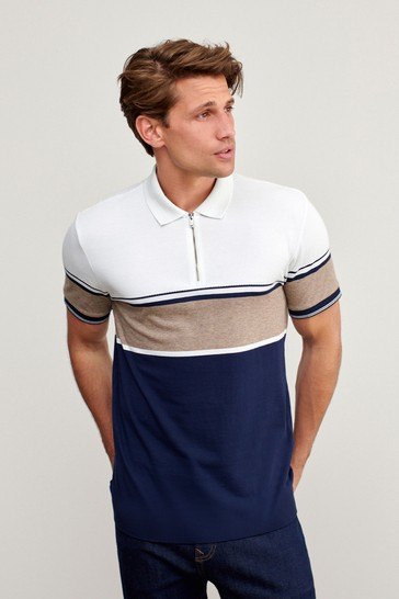 Navy Textured Zip Neck Blocked Polo Shirt