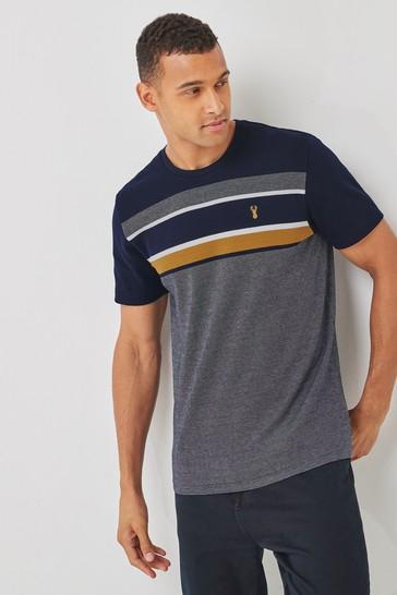 Navy/Tan Block Soft Touch Regular Fit T-Shirt