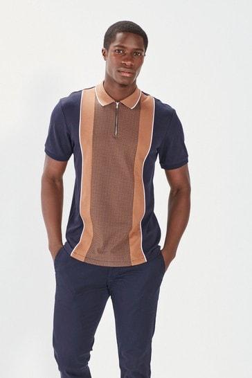 Navy/Tan Dogtooth Print Polo Shirt