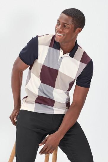 Navy/Burgundy Gingham Print Polo Shirt