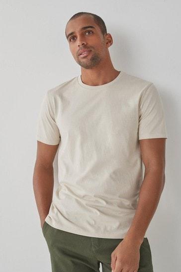 Ecru Regular Fit Crew Neck T-Shirt