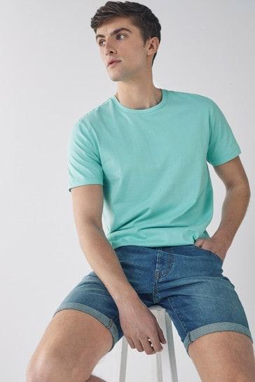 Aqua Blue Regular Fit Crew Neck T-Shirt