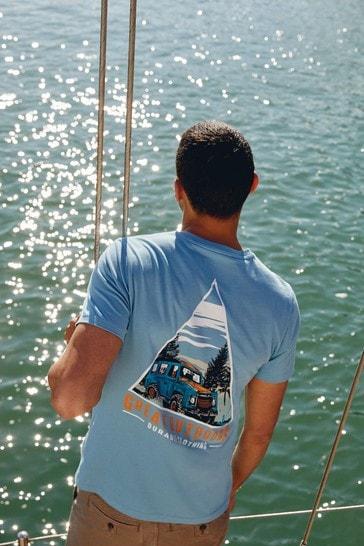Blue Back Print Graphic T-Shirt