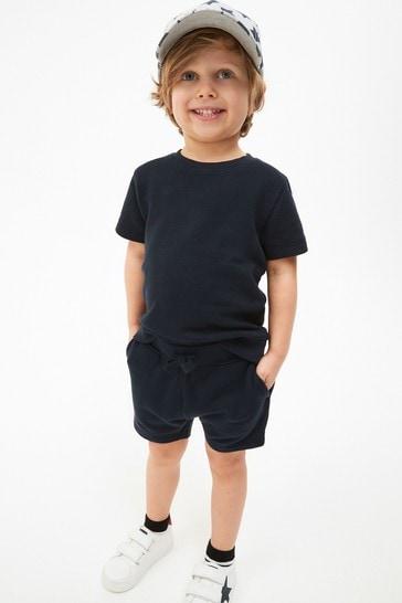 Navy Plain Sweat T-Shirt And Shorts Set (3mths-7yrs)