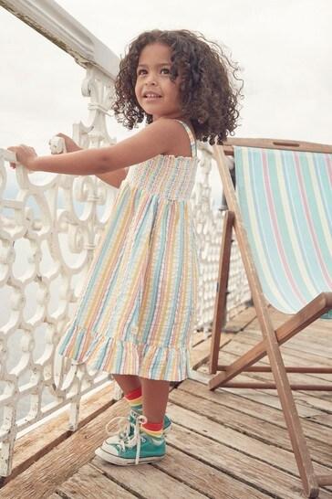 Little Bird Rainbow Shirred Sun Dress