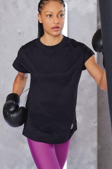 Black Cap Sleeve Sports T-Shirt