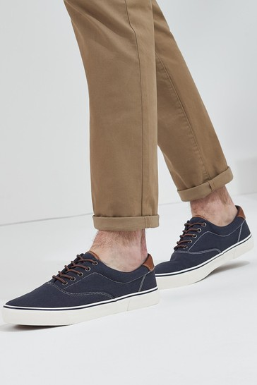 Navy Blue Canvas Trainers