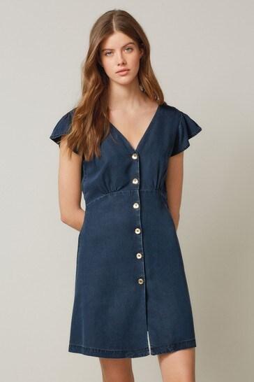 Navy TENCEL™ Button Through Dress
