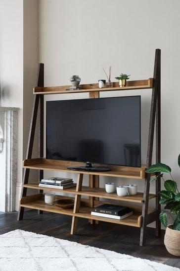 Bronx Oak Effect TV Ladder Shelf