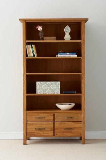 Milton Oak 4 Drawer Single Bookcase by Laura Ashley