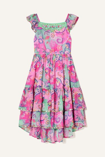 Monsoon Pink Embellished Paisley Print Maxi Dress