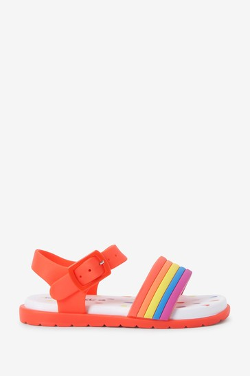Red Rainbow Jelly Sandals