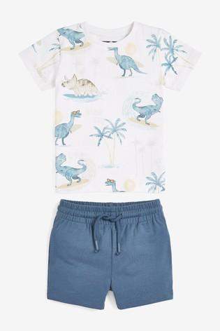 Blue Dino Printed T-Shirt And Shorts Set (3mths-7yrs)