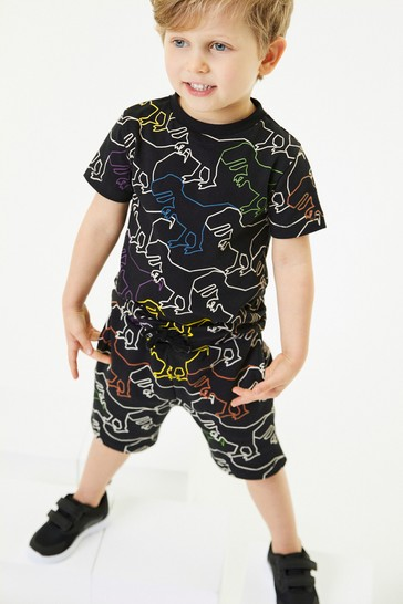 Black Dino Printed T-Shirt And Shorts Set (3mths-7yrs)