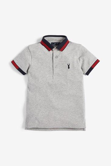 Grey Marl Tipped Polo Shirt (3-16yrs)