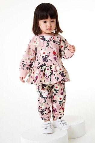 Pink Floral Set Soft Touch Jersey (3mths-7yrs)