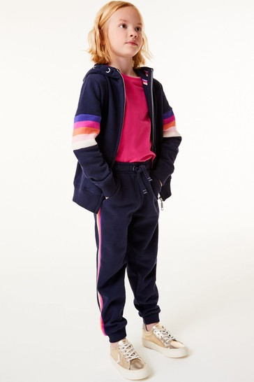 Navy Blue Rainbow Side Stripe Joggers Soft Touch Jersey (3-16yrs)
