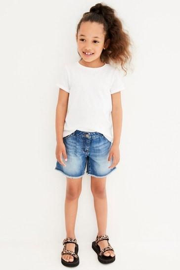 Mid Blue Longer Length Frayed Hem Denim Shorts (3-16yrs)