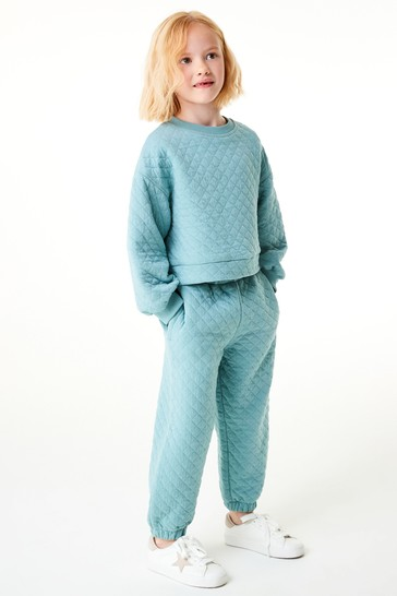 Teal Quilted Crew And Joggers Set (3-16yrs)