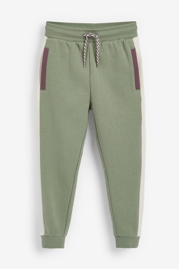 Khaki Green Lilac Colourblock Joggers Soft Touch Colourblock Sweat (3-16yrs)
