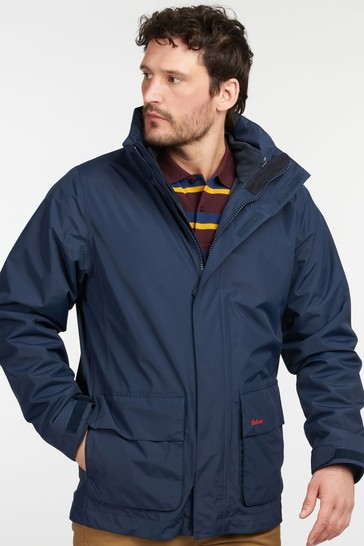 Barbour® Black & Navy Blue Hallington 3-in-1 Waterproof Jacket