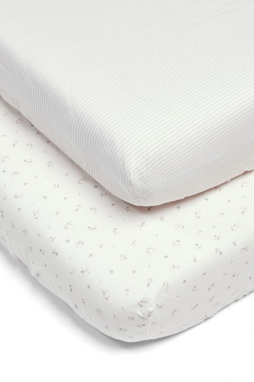 2 Pack Mamas & Papas Pink Welcome to the World Floral Fitted Sheets