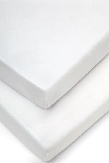 2 Pack Mamas & Papas White Cot Sheets