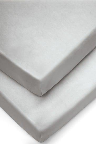 2 Pack Mamas & Papas Grey Cot Bed Sheets