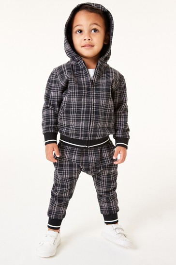Charcoal Grey Check Jersey Zip Through And Jogger Set (3mths-7yrs)
