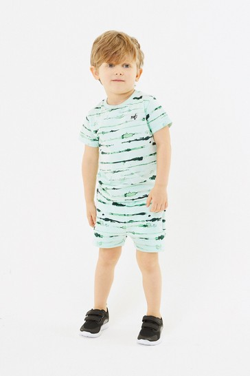 Green Printed T-Shirt And Shorts Set (3mths-7yrs)