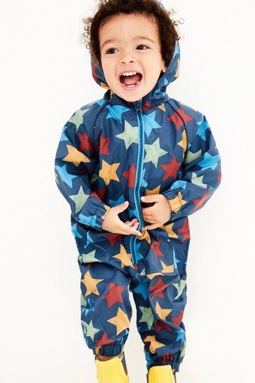 Navy Blue Star Fleece Lined Puddlesuit (3mths-7yrs)