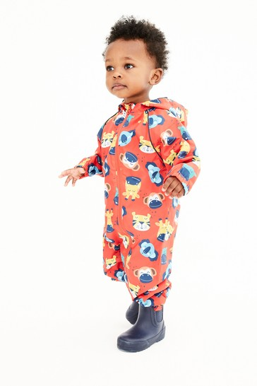 Red Animal Print Fleece Lined Puddlesuit (3mths-7yrs)