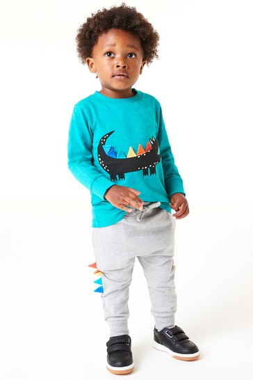 Teal/Grey Croc Character T-Shirt And Joggers Set (3mths-7yrs)